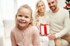 Happy family at home with christmas gift box Royalty Free Stock Photography