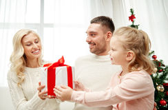 Happy family at home with christmas gift box Royalty Free Stock Photos
