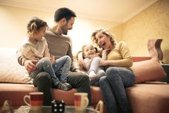 Happy family at home. Close up. stock images