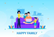 Happy Family at Home Conceptual Banner Template. Conceptual Happy Family Banner Flat Cartoon Template Smiling Mother, Father and Children at Home Daddy Working vector illustration