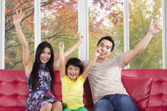 Happy family at home enjoy autumn Stock Image