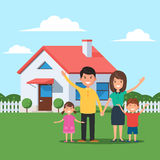 Happy family and home. Happy family in front of the house. Mom and dad, daughter and son on the background of their home. Vector illustration in flat style Stock Photos