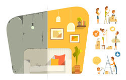 Happy family home house flat apartment room repair. Before and a Royalty Free Stock Photography