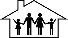 Happy family home / house illustration Stock Photos