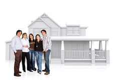 Happy family home illustration Stock Photos