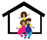 Happy family in the home. Illustration of happy family in the sweet home stock illustration