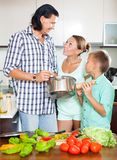 Happy family at home kitchen Royalty Free Stock Photo
