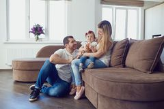 Happy family at home. stock photo