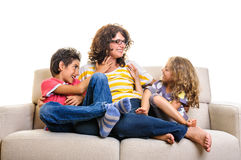 Happy family at home mother girl boy Royalty Free Stock Images