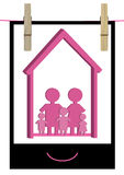 Happy Family Home Photo_eps. Illustration of happy family home photo with clothespin on white background Royalty Free Stock Photography