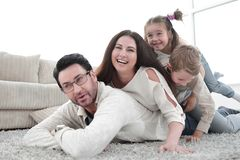 Happy family at home spending time togethe. R.photo with copy space stock image