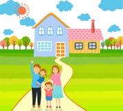 Happy family at home vector illustration Royalty Free Stock Photo