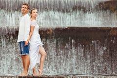 Happy family on honeymoon holidays stock photos