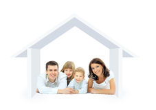 Happy family in a house. Isolated over a white backgroun Stock Photos