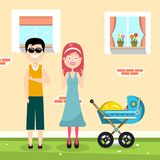 Happy Family with House on Background. And Baby Carriage Vector Illustration stock illustration