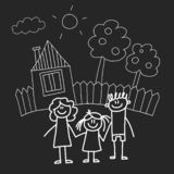 Happy family with house. Kids drawing style vector illustration isolated on blackboard background. Mother, father. Sister, brother stock illustration