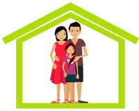 Happy family in a house Stock Photo