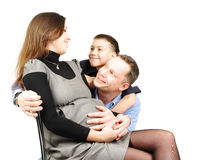Happy family hugging isolated on Royalty Free Stock Images