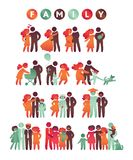Happy family icon multicolored set in simple figures. Children, dad and mom stand together. Vector can be used as logotype. Happy family icon multicolored set in Stock Photo