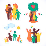 Happy family icon multicolored in simple figures Royalty Free Stock Photo