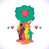 Happy family icon multicolored in simple figures. T. Happy family icon multicolored in simple figures.  Three children, dad and mom stand together under the tree Stock Photography