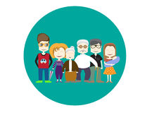 Happy family icon,s. Happy family icon on green backgrounds,s Royalty Free Stock Photography