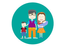 Happy family icon,s. Happy family icon on green backgrounds,s Royalty Free Stock Photo