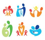 Happy family icons set Royalty Free Stock Images