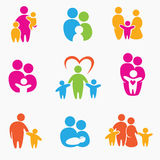 Happy family icons Royalty Free Stock Photography