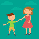 Happy family illustration. Brother and sister portrait in flat style. Boy and girl holding hands vector illustration