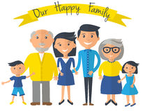 Happy family illustration. Father, mother, grandparents, son and daughter portrait with banner. Happy family illustration. Father, mother, grandparents, son and royalty free illustration