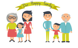 Happy family illustration. Father, mother, grandparents, son and daughter portrait with banner. Two groups of people - mans and womans on white royalty free illustration