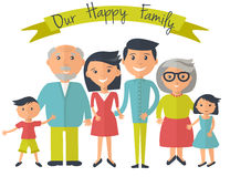Happy family illustration. Father, mother, grandparents, son and dauther portrait with banner. Stock Photography