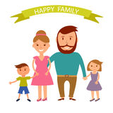 Happy family illustration. Father, mother, son and dauther portrait with banner Royalty Free Stock Image
