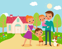 Happy family. Illustration of happy family in front of their sweet home Stock Photos