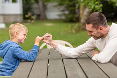 Happy Family In Front Of House Outdoors Stock Photography