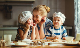 Free Happy Family In Kitchen. Mother And Children Preparing Dough, Ba Stock Images - 84266274