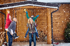 Free Happy Family In Snow Days With Children Stock Image - 81356691