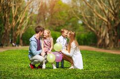 Free Happy Family In Sunny Summer Park Having Fun Together On Grass, Leisure Lifestyle Of Parents With Children Stock Photos - 177599093