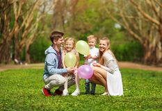 Free Happy Family In Sunny Summer Park Having Fun Together On Grass, Leisure Lifestyle Of Parents With Children Royalty Free Stock Photography - 177604317
