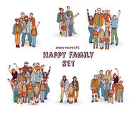 Happy family isolate white group color set. Stock Photo