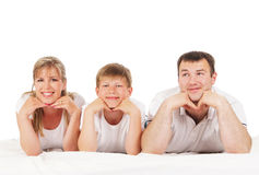 Happy family isolated over white Stock Photo