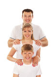Happy family isolated over white Stock Images