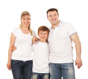 Happy family isolated over white background Royalty Free Stock Photo
