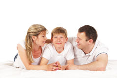 Happy family isolated over white background Stock Photos