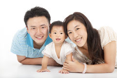 Happy  family isolated on white Stock Photography
