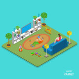 Happy family isometric flat vector concept. Royalty Free Stock Images