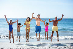 Happy family jumping on the beach Royalty Free Stock Images
