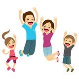 Happy Family Jumping Stock Photos