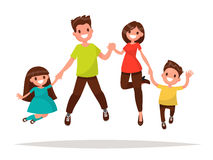 Happy family is jumping. Father mother daughter and son holding. Hands together jumped. Vector illustration of a flat design Royalty Free Stock Photos